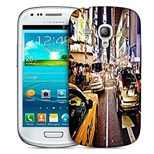 Snoogg New York Time Square At Night Printed Protective Phone Back Case Cover For Samsung S3 Mini / S III Mini