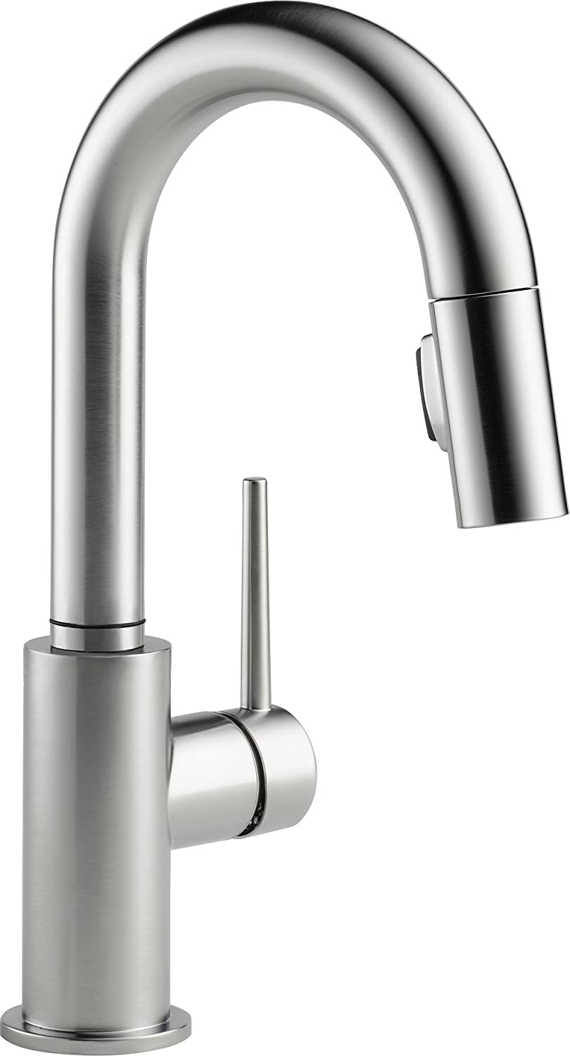 Delta 9959-AR-DST Trinsic Single Handle Pull-Down Bar/Prep Faucet, Arctic Stainless