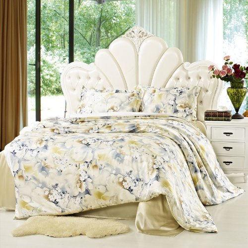 YYfashion 4-piece 100% Pure Natural Silk Bedding quilt 200x230cm bed sheet 230x250cm Pillowcase 48x74 + 5 cm for full queen size bed Floral Design