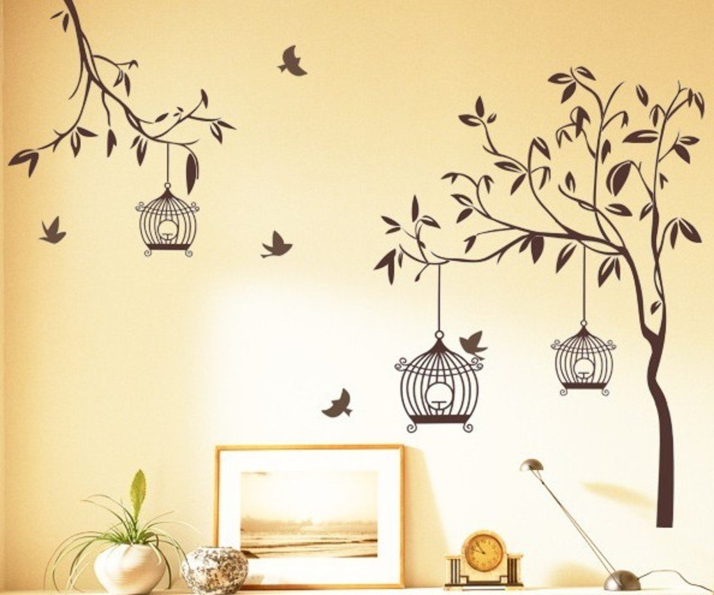 Bird tree wall sticker wall murals ideas buy decals design tree with birds and cages wall sticker pvc amipublicfo Choice Image