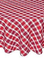 COINCASA Mantel de Mesa Rojo/Blanco Ø180 cm
