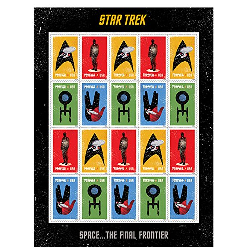 20-star-trek-usps-forever-first-class-postage-stamps-enterprise-classic-tv-1-sheet-of-20-stamps