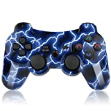 PS3 Controller Wireless Double Shock Bluetooth Joystick Gaming Controller for Playstation 3 with Charger Cord (PS3 Controller, Blue)