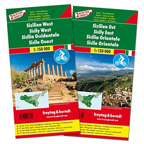 Sicilia, este y oeste. Mapa con rutas cicloturistas y de carreteras. 2 mapas. Escala 1:150.000. Freytag & Berndt. (Auto karte)