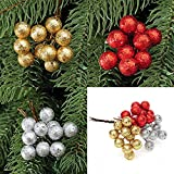 Generic Silver, 15mm : 10pcs/Lot Christmas Tree Hanging Baubles Fruit Ball Party Decoration Ornament Christmas...