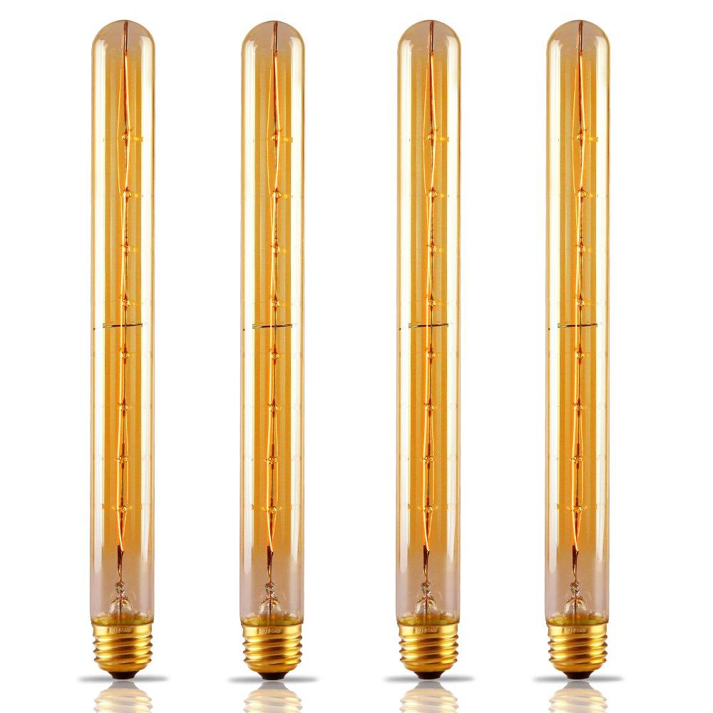 4 Pack Long Filament T30 T10 Vintage Light Bulb Flute Tungsten Golden Tinted Glass 300mm