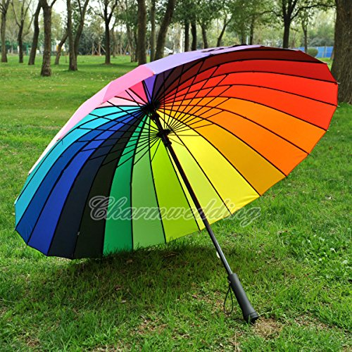 Colorful Rainbow Umbrella Outdoor Wedding Bridal Party Rain Parasol Windproof (Oakley Bracket 8 1 compare prices)