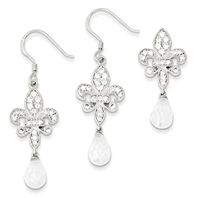 Sterling Silver Fleur-de-lis CZ Earring and Pendant Set