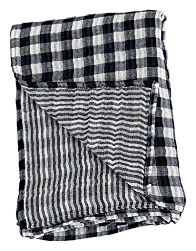 "Lulujo Baby Reversible Muslin Cotton Swaddles Blanket, Classic Navy, 47"" x 47"""
