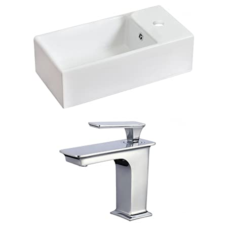 "Jade Bath JB-17832 18"" W x 10"" D Rectangle Vessel Set with Single Hole CUPC Faucet, White"