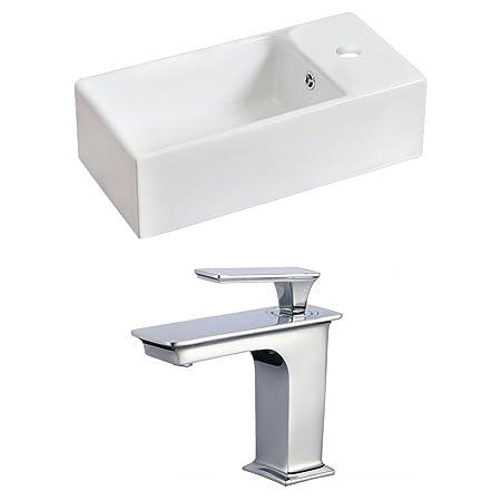 "Jade Bath JB-17832 18"" W x 10"" D Rectangle Vessel Set with Single Hole CUPC Faucet, White"
