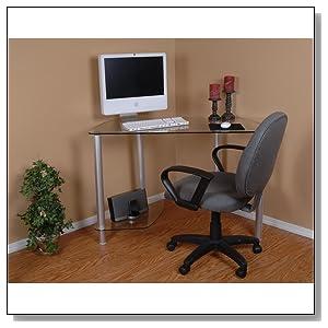Clear Glass Corner Computer Desk