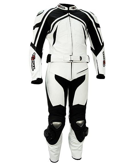 Tschul ® Suite en cuir 750 White/Black Combinaison moto en cuir vachette pour homme Piste Doublure Motard Protections blanc/noir