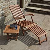 Ambleside Hardwood Garden Patio Steamer Lounger Chair with FREE Side Table