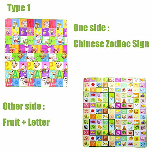200x180x0.5CM Two Side Alphabet Baby Play Mat Fruit Animal Infant Crawling Mat Floor Educational Develop Toddler Toy Carpet Pad (Type 1)