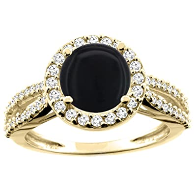 14ct White/Yellow/Rose Gold Natural Black Onyx Ring Round 8mm Diamond Accent 7/16 inch wide, sizes J - T