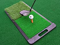 Go4Gold Practice Golf Mat - All Purpose Heavy Duty Hitting Mat and Launch Pad - It Has a Short Fairway Surface and a Longer Rough Surface - Improve Your Driving and Chipping - Protect Your Clubs From Impact Scratches and Damage