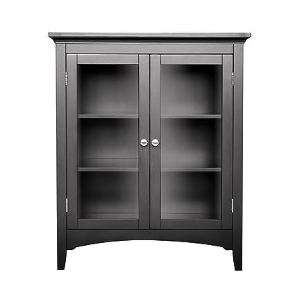 Dark Espresso Freestanding Bathroom Floor Cabinet with Storage Shelves