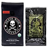 Death Wish & Valhalla Java Whole Bean Coffee Bundle Deal, USDA Certified Organic & Fair Trade (1 of Each Bag) (Color: Dark Roast, Tamaño: Whole Bean)