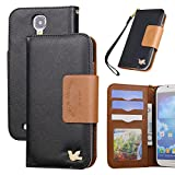 Galaxy S4 Case,By HiLDA,Wallet Case,PU Leather Case,Credit Card Holder,Flip Cover Skin,Case for Samsung Galaxy i9500[Black]