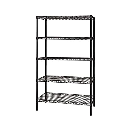"Quantum Storage Systems Wire Shelving 5-Shelf Starter Units - 24""Wx 60""Lx 74""H - Black"