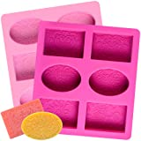 2 Pcs SJ Silicone Soap Molds, 12 Patterns Rectangle & Oval Silicone Molds for Soap Making, Cake Baking Molds, BPA Free & Nonstick (Color: Pink & Purple, Tamaño: Pattern soap molds)