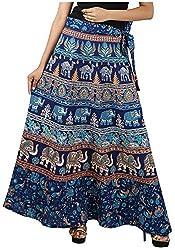 FEMEZONE Skirt Women's Cotton Regular Fit Wrap Skirt (MULTI BLUE