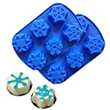 Snowflake Silicone Molds for Soap Making 6 Cavity Cake Candle Muffins Jelly Ice Tube Tray Baking Mold for Christmas Decoration Set of 2 (Color: random, Tamaño: 2×Snowflake Shape Mold)
