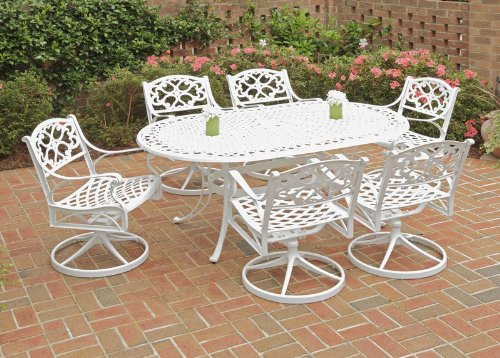 Home Styles 5552-335 Biscayne 7-Piece Outdoor Dining Set with Oval Shape Table and Swivel Chair, White Finish, 72-Inch photo
