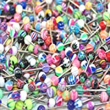 "Lot of 100 Assorted Surgical Steel Barbell Tongue Rings 14 Gauge or 1.6mm- Length 5/8"" or 16mm"