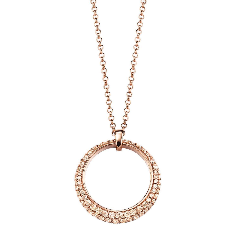 Esprit Damen Halskette 925 Sterling Silber Zirkonia DELIA beige ELNL92698C420