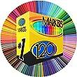 Color Markers Set - (SET OF 120 UNIQUE & VIBRANT COLORS) - Completely Washable - Fine Bullet Felt Tip - Pen Size Barrel - Perfect for Adult Coloring, School Projects, Doodling, & More! by Sanstousa