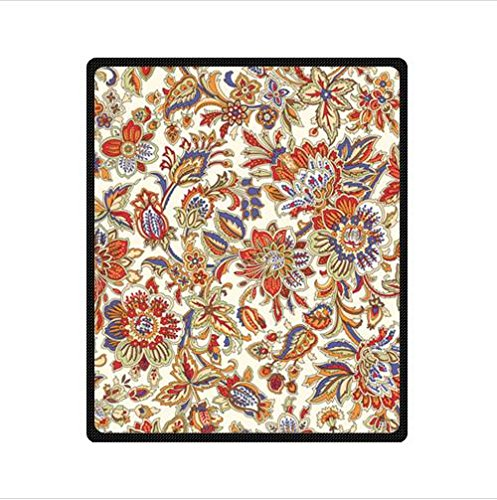 Fashionable Design Blanket,Batik Floral Fabric Custom Fleece Blanket 50 X 60 (Medium)
