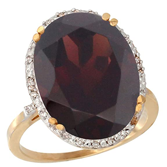 14ct Yellow Gold Natural Garnet Ring Large Oval 18x13mm Diamond Halo, sizes J - T