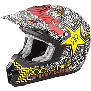 Answer Racing Rockstar Youth Boys A12 Nova Motocross Motorcycle Helmet - Red / Medium