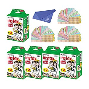 Fuji SP-1 Mini Instant Film 5 Pack (100 Shoots) with Cleaning Cloth and 60 Piece Sticker for Fuji Mini 90,8,70,7s,50s,25,300