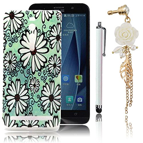 Sunnycase® Coque Etui Asus ZenFone 2 (ZE551ML/ZE550ML) 5.5 pouces Ultra Mince Housse de Protection Silicone TPU Gel Soft Flex Case Cover Haute qualité Smartphone Accessories Bumper Totale Protection Protecteur écran Premium Polyurethane Skin Shell Portable Chic Couvrir Coverture Flexible Antichoc Shock Absorption Bouclier Hull Back Cover Coquille Arrière + Crystal Strass Blanc Rose Anti-dust Bouchon Plug + Métal Stylet Stylus Tactile Pen, Motif dessiné Floral Fleurs Daisy Pâquerette Verte Bas