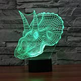 Dinosaur3D Night Light Touch Table Desk Lamps, Elstey 7 Color Changing Lights with Acrylic Flat & ABS Base & USB Charger for Home Decor