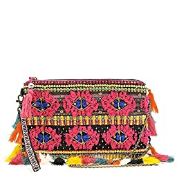 STEVEN Halle Embroidered Tassel Clutch Pink-Multi