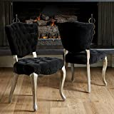 Best Selling Lane Tufted Fabric Dining Chair, Black, Set of 2