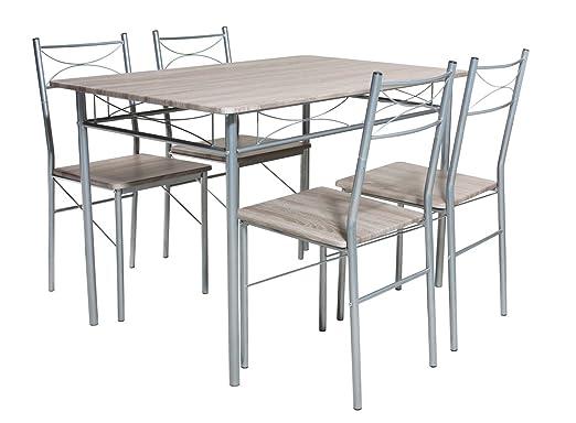 Essgruppe, Tischgruppe, Tischset, Esstisch, Kuchentisch, Tisch, Esszimmerstuhl, Stuhl, Set, 5-teilig, Sonoma Eiche Nachbildung