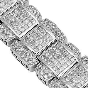 14K White Gold Mens Diamond Bracelet 27.98 Ctw