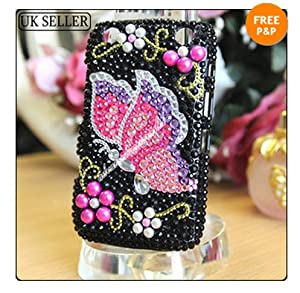 FOR BLACKBERRY 9320 9220 CURVE CRYSTAL DIAMOND BLING CASE DIAMANTE HARD COVER[3d lilac / hot pink butterfly]