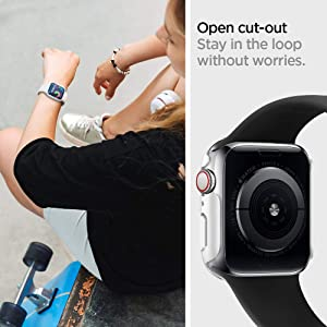 Spigen Thin Fit Designed for Apple Watch Case for 40mm Series 5 / Series 4 - White (Color: White, Tamaño: 40mm)