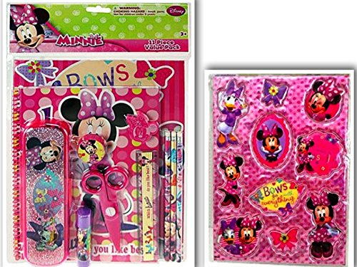 [Minnie Mouse Bowtique Back to School Bundle: 2 Items- 11 Piece Value Set (Portfolio, Notebook, Sharpener, Eraser, 3 Pencils, Ruler, Pair of Scissors, Glue Stick, Pencil Box) & Puffy Sticker] (King Triton Costume Ideas)