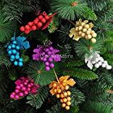 Generic Gold : Artificial Xmas Fruit Ear Leaf Party Christmas Tree Holiday Hanging Ball Baubles Decoration Ornament
