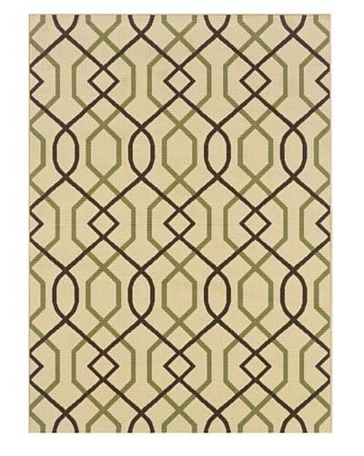 Granville Rugs Monterey Indoor/Outdoor Rug, Green/Ivory/Brown, 5' 3 x 7' 6