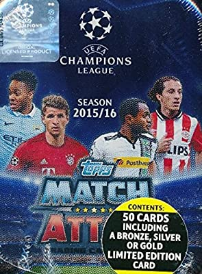 2015/2016 Topps Match Attax Champions League Soccer Collectors TIN with 50 Cards & EXCLUSIVE Limited Edition Card of LIONEL MESSI! Look for Cards of Top Stars Ronaldo, Messi, Suarez,Neymar & Many More