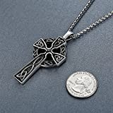 Mens-Stainless-Steel-Large-Celtic-Cross-Irish-Knot-Pendant-Necklace-24-Link-Chain-aap011