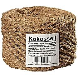 Ø 4.5 mm Kokosseil - Kokos-Tau: braune Garten-Schnur - Baum-Kordel aus 100% Naturfasern (Kokosfaser) in Naturfarbe (Länge 50m)